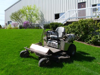 1 of our 3 propane-powered lawn mowers that produces a zero carbon footprint.