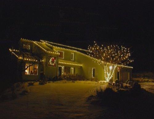 Christmas Lights House Outline and Tree