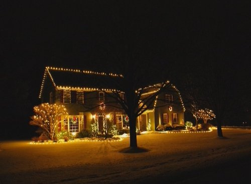 Christmas Lights creating tranquil and welcoming tone
