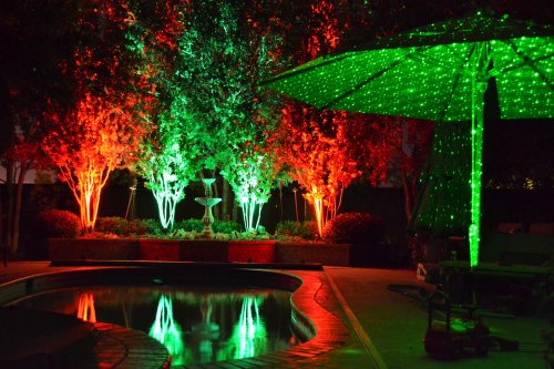 Pool area decorated with Galaxy and Color Splash Christmas Lights