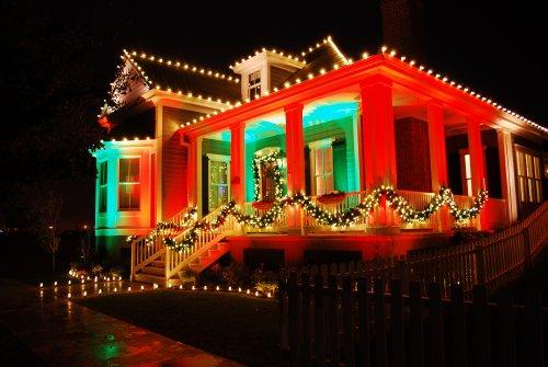 Color Splash Christmas Lights on Porch